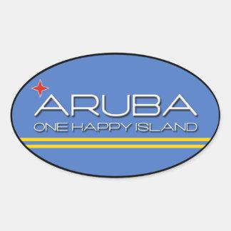 Aruba - One Happy Island Oval Sticker