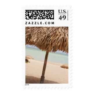 Aruba, palapa on beach postage