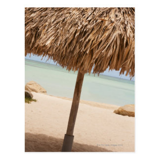 Aruba, palapa on beach postcard