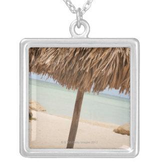 Aruba, palapa on beach square pendant necklace