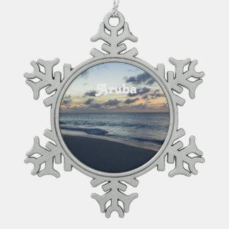 Aruba Perfection Snowflake Pewter Christmas Ornament