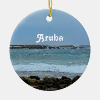 Aruba perfecto adorno navideño redondo de cerámica