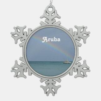Aruba Rainbow Snowflake Pewter Christmas Ornament