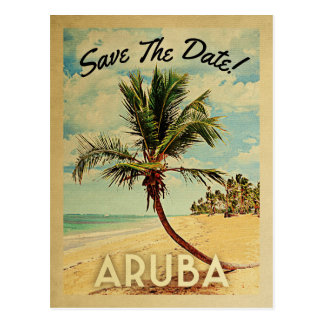 Aruba Save The Date Vintage Beach Palm Tree Postcard