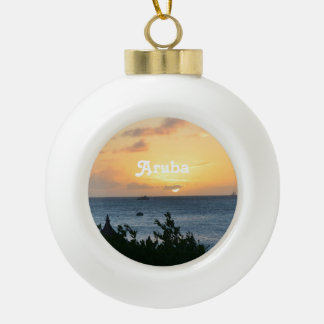 Aruba Setting Sun Ceramic Ball Christmas Ornament