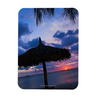 Aruba, silhouette of palapa on beach at sunset 2 magnet