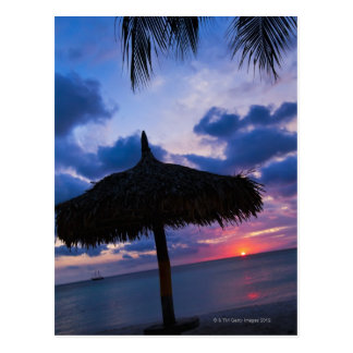 Aruba, silhouette of palapa on beach at sunset 2 postcard