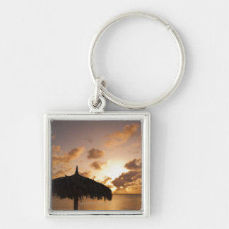 Aruba silhouette of palapa on beach at sunset keychains