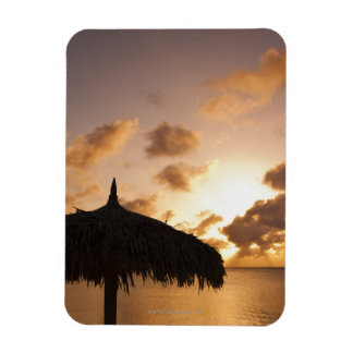 Aruba, silhouette of palapa on beach at sunset magnet