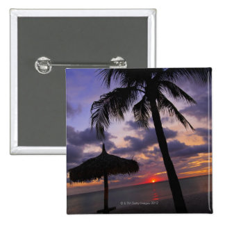 Aruba, silhouette of palm tree and palapa on 2 inch square button