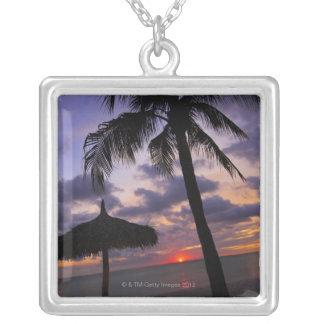 Aruba, silhouette of palm tree and palapa on custom jewelry