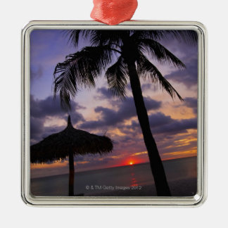 Aruba, silhouette of palm tree and palapa on square metal christmas ornament