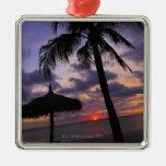 Aruba, silhouette of palm tree and palapa square metal christmas ornament
