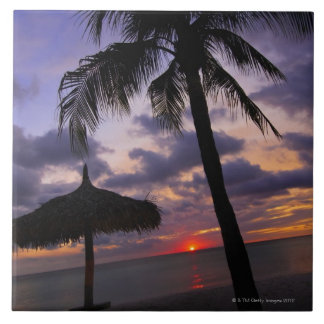 Aruba, silueta de la palmera y del palapa encendid azulejo cuadrado grande