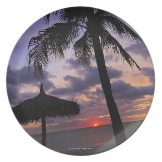 Aruba, silueta de la palmera y del palapa encendid plato
