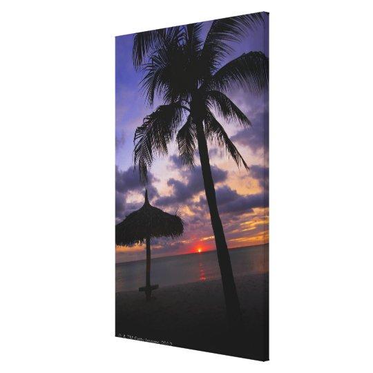 Aruba, silueta de la palmera y del palapa impresión en lienzo