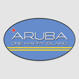 Aruba - una isla feliz pegatina ovalada