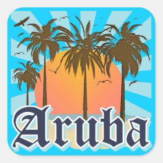 Aruba vara puesta del sol colcomanias cuadradas