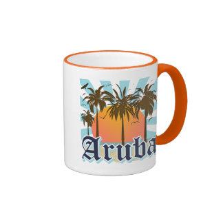 Aruba vara puesta del sol tazas