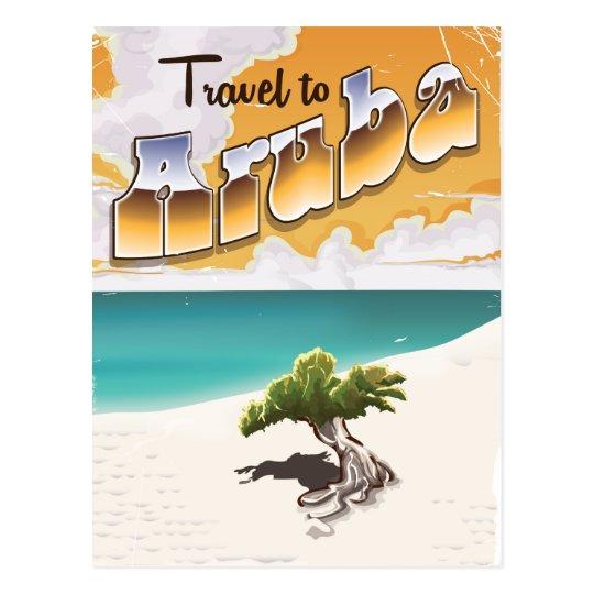 Aruba Vintage Beach Travel Print Postcard
