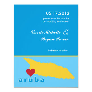 "Aruba Wedding Save the Date Announcement 4.25"" X 5.5"" Invitation Card"