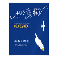 Aruba Wedding Save the Date Card, Map Magnetic Invitation