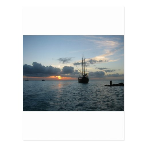 Aruba with boat & sunset postcard