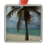 Aruban Beach I Beautiful Nature Scene Silver-Colored Square Ornament