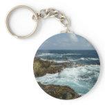 Aruba's Rocky Coast and Blue Ocean Basic Round Button Keychain