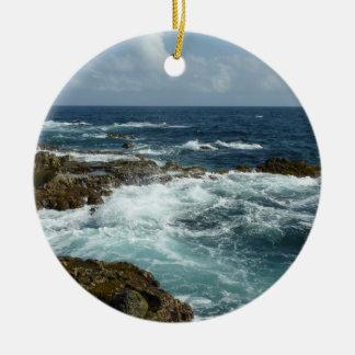 Aruba's Rocky Coast and Blue Ocean Ceramic Ornament