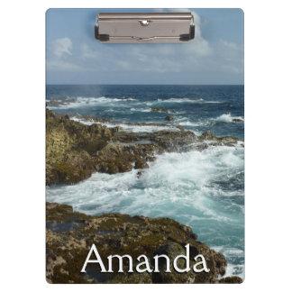 Aruba's Rocky Coast and Blue Ocean Clipboard