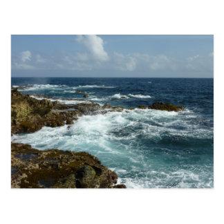Aruba's Rocky Coast and Blue Ocean Postcard