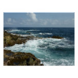 Aruba's Rocky Coast and Blue Ocean Poster