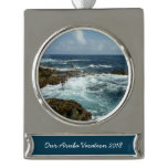 Aruba's Rocky Coast and Blue Ocean Silver Plated Banner Ornament