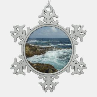 Aruba's Rocky Coast and Blue Ocean Snowflake Pewter Christmas Ornament