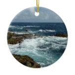 Aruba's Rocky Coast Blue Ocean Double-Sided Ceramic Round Christmas Ornament