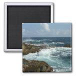 Aruba's Rocky Coast Blue Ocean 2 Inch Square Magnet