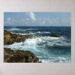 Aruba's Rocky Coast Blue Ocean Poster