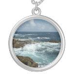 Aruba's Rocky Coast Blue Ocean Round Pendant Necklace