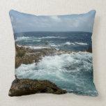 Aruba's Rocky Coast Blue Ocean Throw Pillow