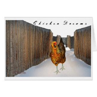 Arucana hen 'dream' in snow fence art Card