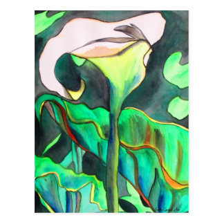 Arum Lily watercolor original art painting Postcard