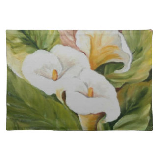 Arums on pink cloth placemat
