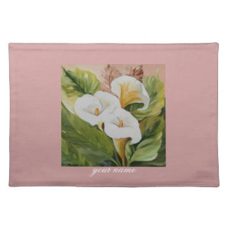 Arums on pink placemat