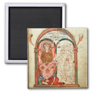 Arundel 155 f.133 Monks of Christchurch, Canterbur 2 Inch Square Magnet