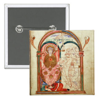 Arundel 155 f.133 Monks of Christchurch, Canterbur 2 Inch Square Button