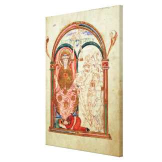 Arundel 155 f.133 Monks of Christchurch, Canterbur Canvas Print