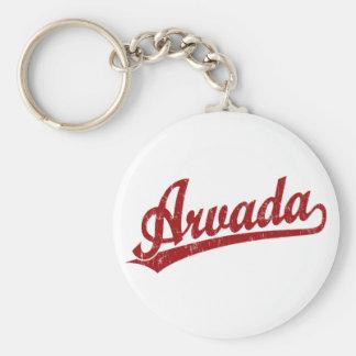 Arvada script logo in red keychain