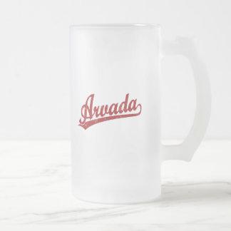 Arvada script logo in red coffee mug