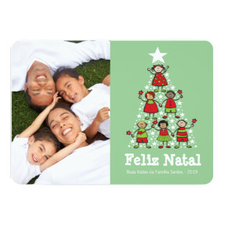 Árvore de Natal bonito do Natal dos miúdos Cartão Card